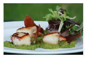 Seared Lyme Bay scallops with pea and mint pur�e and oven-dried Prosciutto